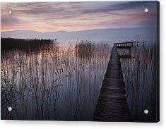 A Lake A Pier And Some Reeds Acrylic Print