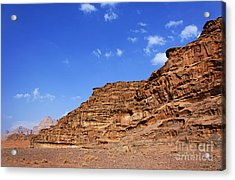 A Landscape Of Rocky Outcrops In The Desert Of Wadi Rum Jordan Acrylic Print by Robert Preston