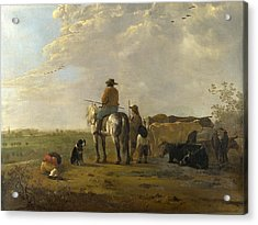 A Landscape With Horseman Herders And Cattle Acrylic Print