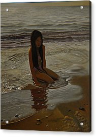 A Line Between Ocean And Sand Acrylic Print by Thu Nguyen