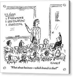 A Little Boy Asks His Teacher In The Classroom Acrylic Print
