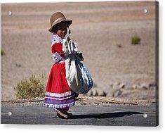 A Little Girl In The  High Plain Acrylic Print