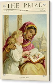 A Little White Girl Teaches An  Asian Acrylic Print by Mary Evans Picture Library