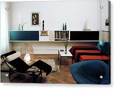 A Living Room With A Le Corbusier Chair Acrylic Print