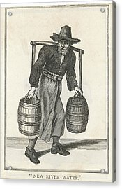 A London Water Carrier With Two Barrels Acrylic Print by Mary Evans Picture Library