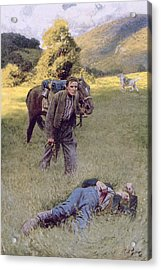 A Lonely Duel In The Middle Of A Great Sunny Field, Illustration From Rowand By William Gilmore Acrylic Print by Howard Pyle