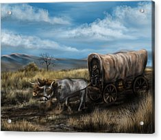 A Long Journey - Covered Wagon On The Prairie Acrylic Print by Ron Grafe