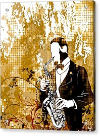 A Love For Sax Acrylic Print by Stanley Mathis