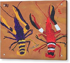 A Lsu Crawfish And A Ul Crawfish Acrylic Print by Swabby Soileau
