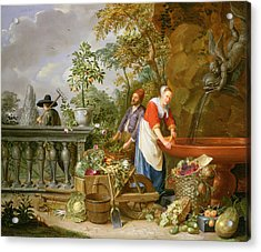 A Maid Washing Carrots At A Fountain Acrylic Print by Nicolaas or Nicolaes Muys