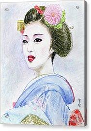 Acrylic Print featuring the drawing A Maiko  Girl by Yoshiko Mishina