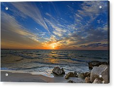 Acrylic Print featuring the photograph A Majestic Sunset At The Port by Ron Shoshani