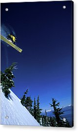 A Male Alpine Skier Jumps Off A Cliff Acrylic Print