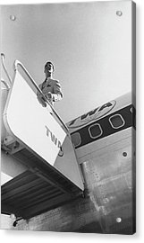 A Male Model Disembarking A Twa Boeing 707 Plane Acrylic Print by Leonard Nones