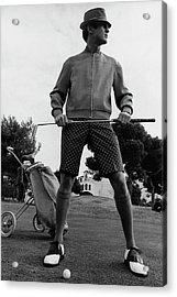A Male Model Posing As A Golfer Wearing Acrylic Print by Leonard Nones