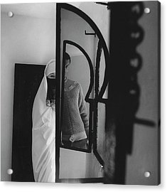 A Male Model Posing In A Mirror With A Woman Acrylic Print