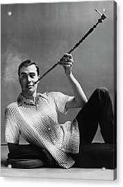 A Male Model Smoking A Cigarette From A Long Pipe Acrylic Print by Emme Gene Hall