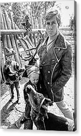 A Male Model Wearing A Coat Posing With Children Acrylic Print