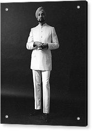 A Male Model Wearing A Custom-tailored Gaberdine Acrylic Print