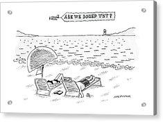 A Man And A Woman Lie Down On Reclined Beach Acrylic Print