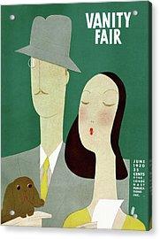 A Man And A Woman With A Dog Acrylic Print by Eduardo Garcia Benito