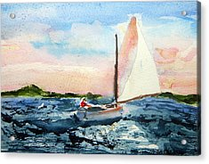 Acrylic Print featuring the painting A Man And His Boat by Michael Helfen