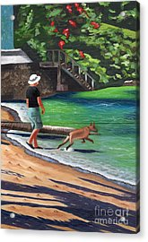 Acrylic Print featuring the painting A Man And His Dog by Laura Forde