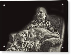 A Man And His Dog Acrylic Print by Linda Phelps
