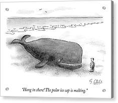 A Man Comforts A Beached Whale That Climate Acrylic Print