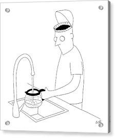 A Man Filling Up His Coffee Pot Acrylic Print