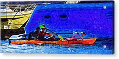 A Man His Kayak And His Dogs Acrylic Print by Kirt Tisdale