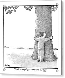 A Man Hugging A Tree Speaks To It Forlornly Acrylic Print
