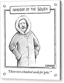 A Man In An Eskimo Coat Acrylic Print by Matthew Diffee
