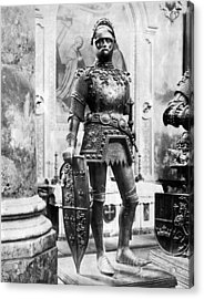 A Man In Knight's Armor Acrylic Print by Underwood Archives