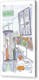 A Man Is Is Held Up By Airport Security Acrylic Print by Michael Crawford