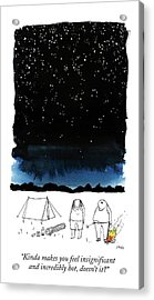A Man Looks Up At The Night Sky Acrylic Print