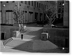 A Man On The Steps At Rockefeller Plaza Acrylic Print