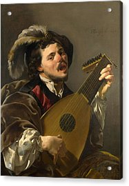 A Man Playing A Lute Acrylic Print by Hendrick ter Brugghen