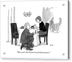 A Man Proposes To A Woman In A Restaurant Acrylic Print