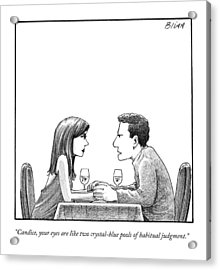 A Man Speaks To A Woman At A Restaurant Table Acrylic Print