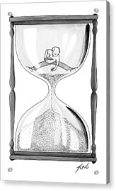 A Man Stands In The Top Half Of An Hourglass Acrylic Print by Tom Toro