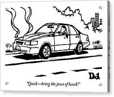 A Man Talks On His Cellphone In A Broken Down Car Acrylic Print
