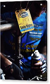 A Man Tends To His Mud-splattered Acrylic Print
