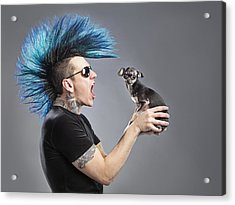 A Man With A Blue Mohawk Yells At His Acrylic Print by Leah Hammond