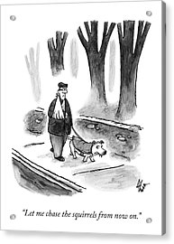 A Man With His Arm In A Sling Walks His Dog Acrylic Print