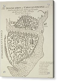A Map Of Constantinople In 1422 Acrylic Print by Cristoforo Buondelmonti