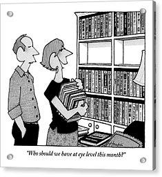 A Married Couple Reorganizes Their Bookshelf That Acrylic Print