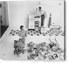 A Married Couple With Kitchen Appliances Acrylic Print