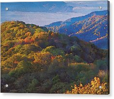 a Maxfield Parrish Autumn in the Smokies Acrylic Print by Philip White
