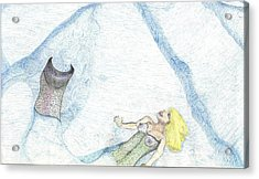 Acrylic Print featuring the drawing A Mermaids Moment by Kim Pate